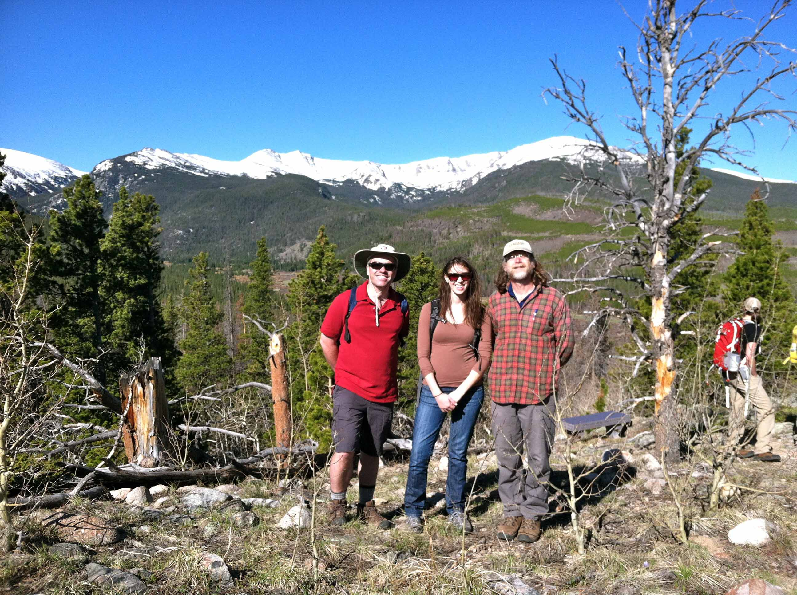 Adrian Howkins, Hayley Brazier, and Mark Fiege pose for a photo after listening to Michael Reidy's presentation on mountaineering. Pingree Park, Colorado. Photograph courtesy of the author.